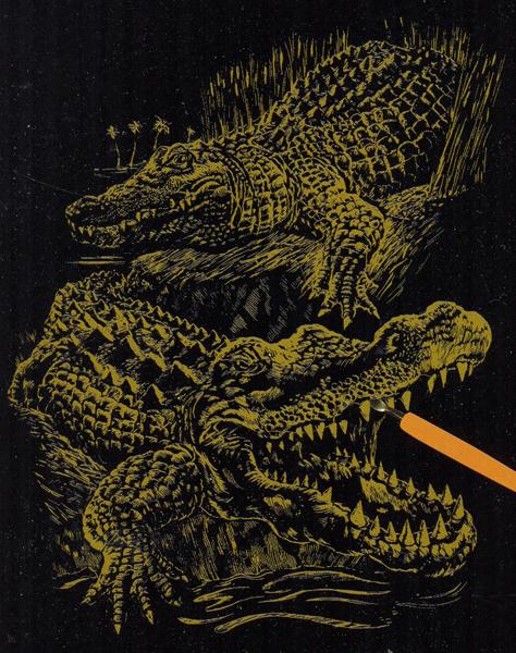 Набор для создания гравюры Engraving Art Крокодил, 21 см х 31 см7700686Набор для создания гравюры Engraving Art Крокодил поможет вам создать свой личный шедевр - красивую картину (графическое произведение) на листе с эскизом. Гравюра создается при помощи специального штихеля (скребка), которым процарапывается рисунок из-под слоя краски. Творчество отвлечет вас от повседневных забот! Работа, сделанная своими руками, создаст особый уют и атмосферу в доме и долгие годы будет радовать вас и ваших близких, а подарок, выполненный собственноручно, станет самым ценным для друзей и знакомых. В набор входят: - лист с эскизом, - тестовый лист, - скребок, - инструкция.