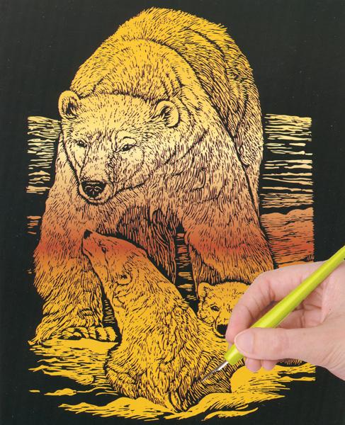 Набор для создания гравюры Engraving Art Медведь, 33 см х 22 см7700699Набор для создания гравюры Engraving Art Медведь поможет вам создать свой личный шедевр - красивую картину (графическое произведение) на листе с эскизом. Гравюра создается при помощи специального штихеля (скребка), которым процарапывается рисунок из-под слоя краски. Творчество отвлечет вас от повседневных забот! Работа, сделанная своими руками, создаст особый уют и атмосферу в доме и долгие годы будет радовать вас и ваших близких, а подарок, выполненный собственноручно, станет самым ценным для друзей и знакомых. В набор входят: - лист с эскизом, - тестовый лист, - скребок, - инструкция.