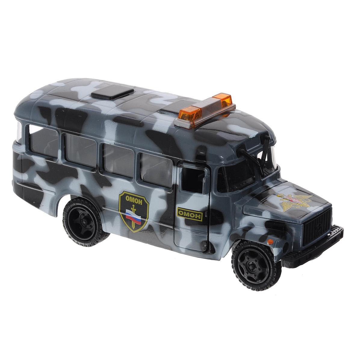ТехноПарк Машинка инерционная КАвЗ 3976 ОМОНCT10-069-26Машинка инерционная ТехноПарк КАвЗ 3976: ОМОН, выполненная из пластика и металла, станет любимой игрушкой вашего малыша. Игрушка представляет собой модель автобуса КАвЗ 3976 ОМОНа. Дверцы кабины водителя, кузова и капот открываются. При нажатии на капот машины, замигают проблесковые маячки на крыше и прозвучат команды диспетчера. Игрушка оснащена инерционным ходом. Машинку необходимо отвести назад, затем отпустить - и она быстро поедет вперед. Прорезиненные колеса обеспечивают надежное сцепление с любой поверхностью пола. Ваш ребенок будет часами играть с этой машинкой, придумывая различные истории. Порадуйте его таким замечательным подарком! Машинка работает от батареек (товар комплектуется демонстрационными).