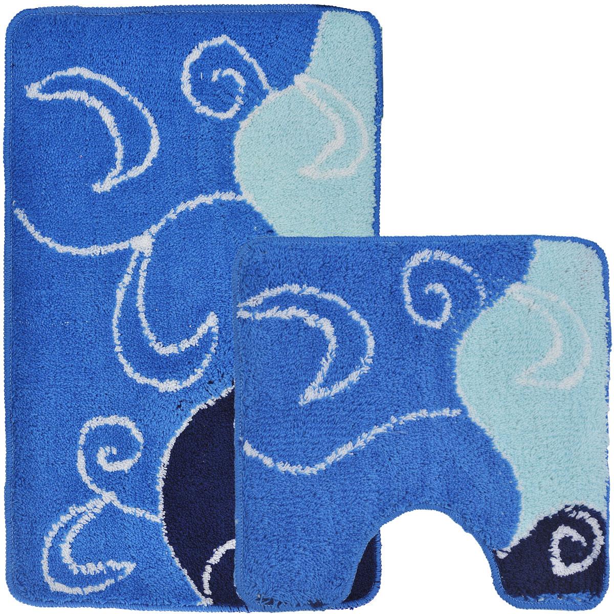 Комплект ковриков для ванной и туалета Fresh Code, цвет: синий, 2 предмета55010синийКомплект Fresh Code состоит из коврика для ванной комнаты и туалета. Коврики изготовлены из акрила и оформлены узором. Это экологически чистый, быстросохнущий, мягкий и износостойкий материал. Красители устойчивы, поэтому коврики не потускнеют даже после многократных стирок в стиральной машине. Благодаря латексной основе коврики не скользят на полу. Края изделий обработаны оверлоком. Можно использовать на полу с подогревом. Набор для ванной Fresh Code подарит ощущение тепла и комфорта, а также привнесет уют в вашу ванную комнату. Высота ворса: 1 см. Размер коврика для ванной комнаты: 80 см х 50 см. Размер коврика для туалета: 50 см х 50 см.