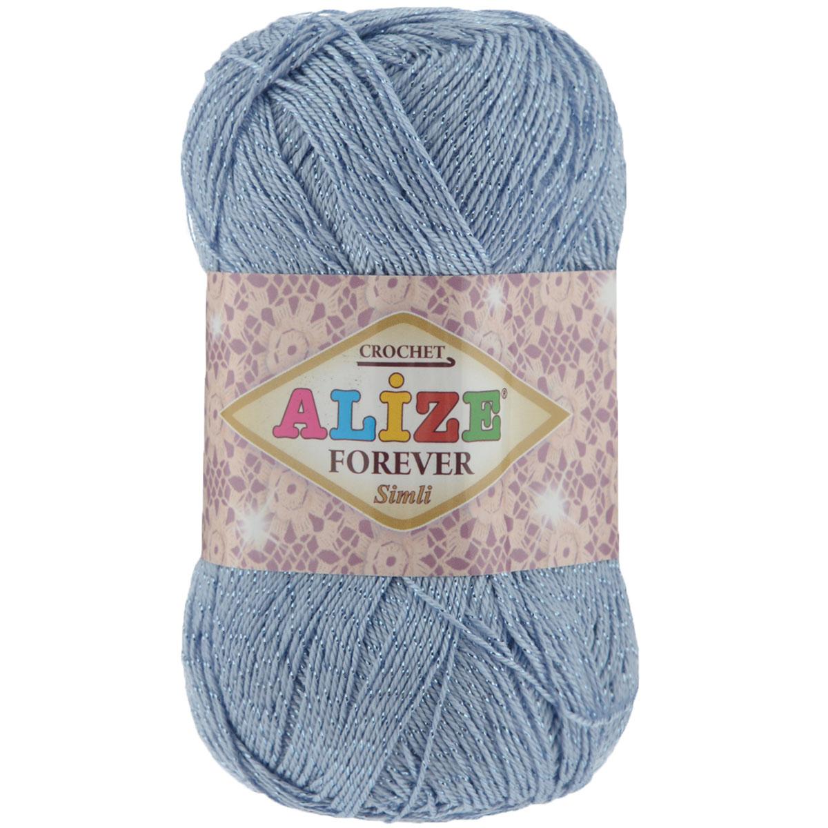 Пряжа для вязания Alize Forever simli, цвет: голубой (40), 280 м, 50 г, 5 шт697549_40Пряжа для вязания Alize Forever simli- это тщательно обработанная акриловая пряжа, которая приобретает вид мерсеризованной нити. Красивая классическая пряжа с люрексом, прочная, мягкая и шелковистая. Люрекс, предаст вашему изделию индивидуальность и яркость. Благодаря удачно подобранной тон в тон блестящей нити, создается впечатление, что пряжа светится изнутри. Пряжа Alize Forever simli предназначена для вязания летних и весенних вещей и прекрасно подойдет как для спиц, так и для крючка. Пряжа прекрасно подойдет для вязания нарядных топов, ажурных кофточек, платьев и костюмов, а также для отделки изделий. Рекомендованные спицы № 2-3,5, крючок № 0,75-1,5. Состав: 96% акрил, 4% люрекс.
