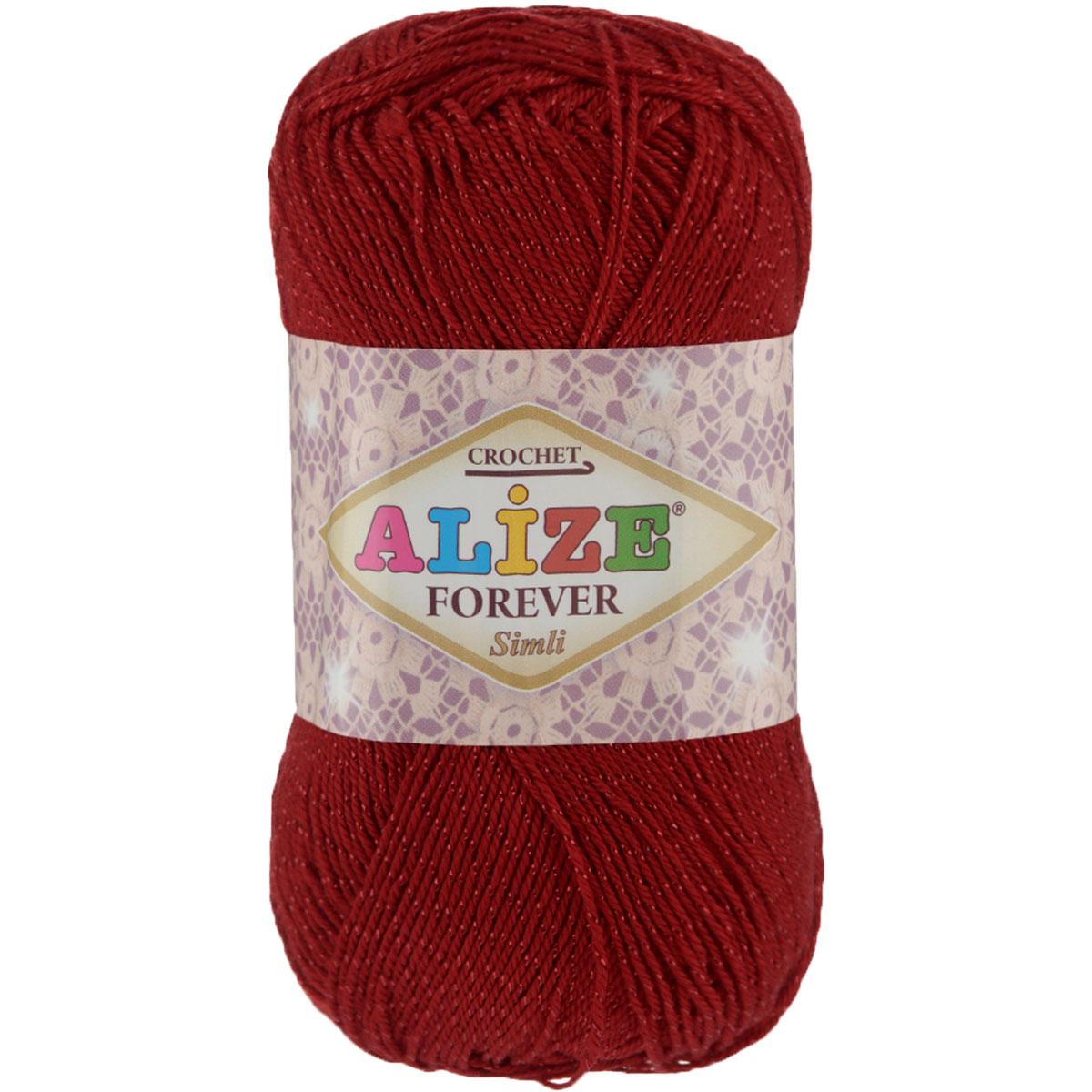 Пряжа для вязания Alize Forever simli, цвет: красный (106), 280 м, 50 г, 5 шт697549_106Пряжа для вязания Alize Forever simli- это тщательно обработанная акриловая пряжа, которая приобретает вид мерсеризованной нити. Красивая классическая пряжа с люрексом, прочная, мягкая и шелковистая. Люрекс, предаст вашему изделию индивидуальность и яркость. Благодаря удачно подобранной тон в тон блестящей нити, создается впечатление, что пряжа светится изнутри. Пряжа Alize Forever simli предназначена для вязания летних и весенних вещей и прекрасно подойдет как для спиц, так и для крючка. Пряжа прекрасно подойдет для вязания нарядных топов, ажурных кофточек, платьев и костюмов, а также для отделки изделий. Рекомендованные спицы № 2-3,5, крючок № 0,75-1,5. Состав: 96% акрил, 4% люрекс.