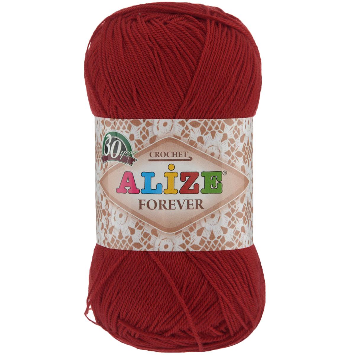 Пряжа для вязания Alize Forever, цвет: красный (106), 300 м, 50 г, 5 шт367022_106Alize Forever - это тщательно обработанная акриловая пряжа, которая приобретает вид мерсеризованной нити. Классическая пряжа, прочная, мягкая и шелковистая. Большое разнообразие цветов и оттенков от спокойных до ярких позволять подобрать пряжу для вязания на любой вкус. Предназначена для вязания летних и весенних вещей и прекрасно подойдет как для спиц, так и для крючка. Изделия получаются очень красивыми и нарядными внешне и при этом комфортными в носке. Рекомендованные спицы № 2-3,5, крючок № 0,75-1,5. Состав: 100% акрил.