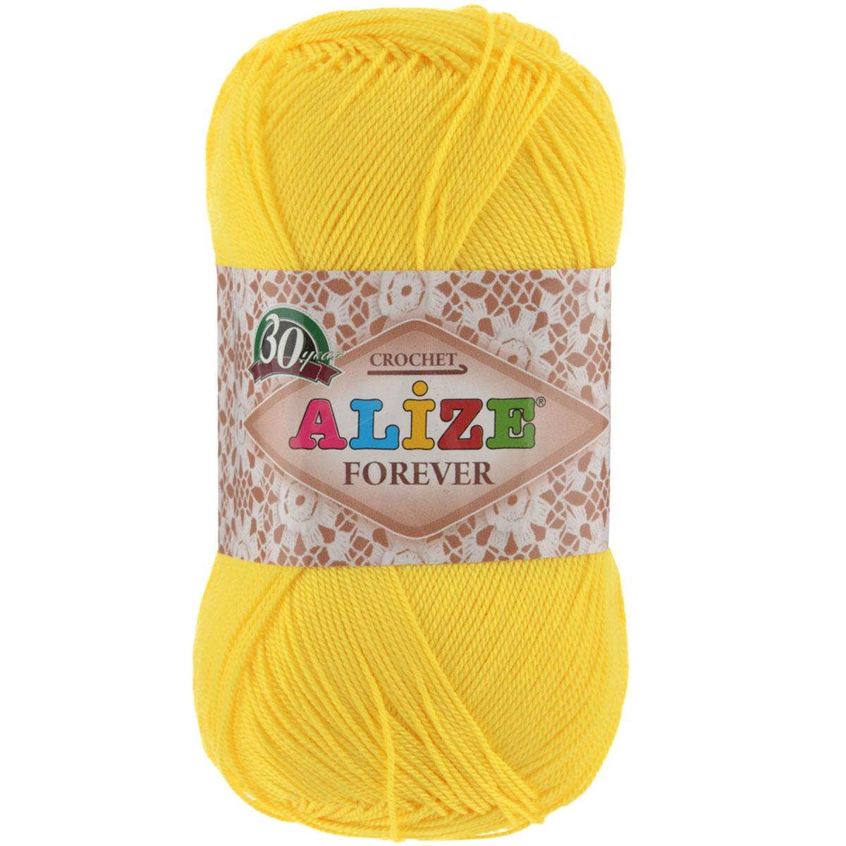 Пряжа для вязания Alize Forever, цвет: желтый (110), 300 м, 50 г, 5 шт367022_110Alize Forever - это тщательно обработанная акриловая пряжа, которая приобретает вид мерсеризованной нити. Классическая пряжа, прочная, мягкая и шелковистая. Большое разнообразие цветов и оттенков от спокойных до ярких позволять подобрать пряжу для вязания на любой вкус. Предназначена для вязания летних и весенних вещей и прекрасно подойдет как для спиц, так и для крючка. Изделия получаются очень красивыми и нарядными внешне и при этом комфортными в носке. Рекомендованные спицы № 2-3,5, крючок № 0,75-1,5. Состав: 100% акрил.