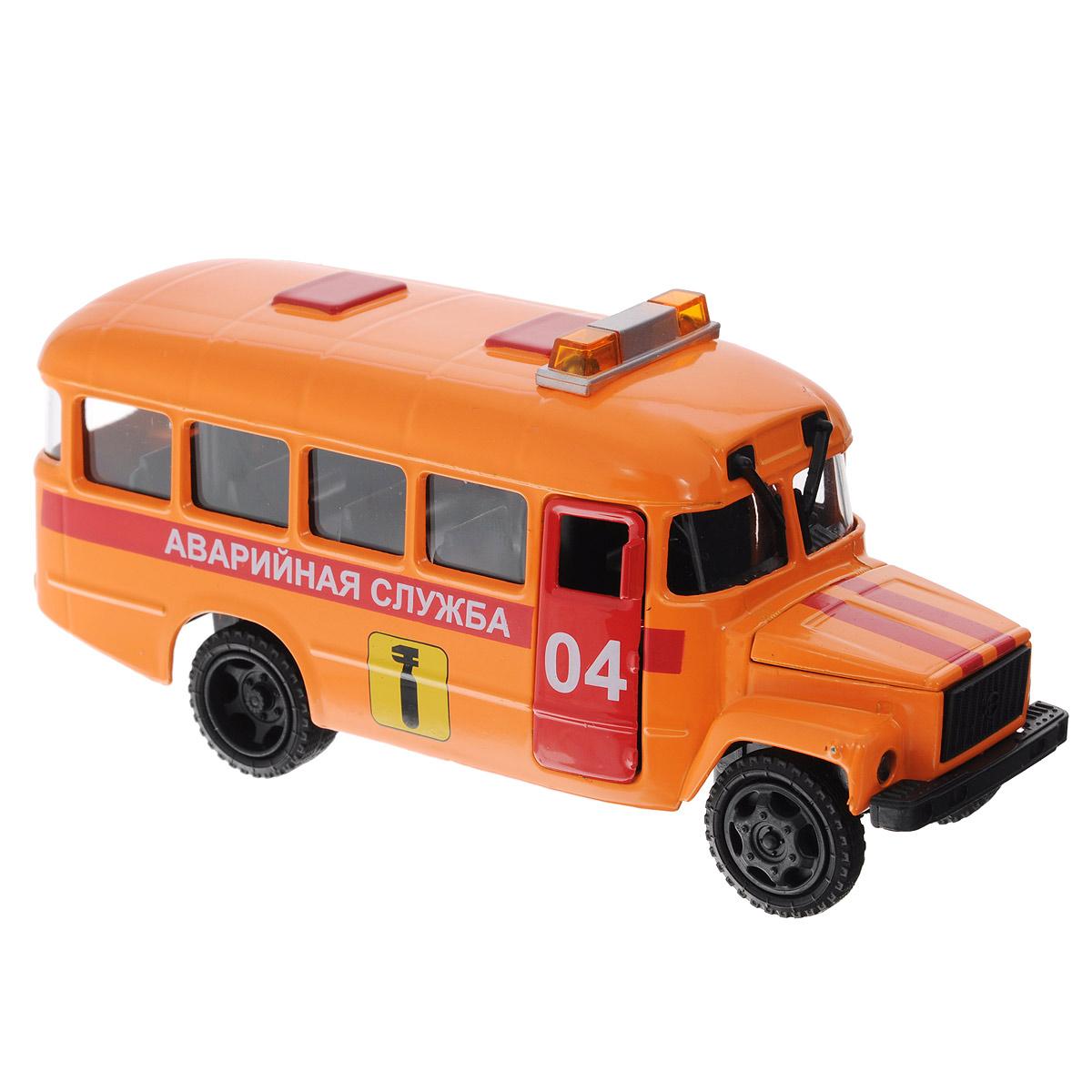 ТехноПарк Машинка инерционная КАвЗ 3976 Аварийная службаCT10-069-7Машинка инерционная ТехноПарк КАвЗ 3976: Аварийная служба, выполненная из пластика и металла, станет любимой игрушкой вашего малыша. Игрушка представляет собой модель автобуса КАвЗ 3976 Аварийной службы. Дверцы кабины водителя, кузова и капот открываются. При нажатии на капот машины, замигают проблесковые маячки на крыше и прозвучат команды диспетчера. Игрушка оснащена инерционным ходом. Машинку необходимо отвести назад, затем отпустить - и она быстро поедет вперед. Прорезиненные колеса обеспечивают надежное сцепление с любой поверхностью пола. Ваш ребенок будет часами играть с этой машинкой, придумывая различные истории. Порадуйте его таким замечательным подарком! Машинка работает от батареек (товар комплектуется демонстрационными).