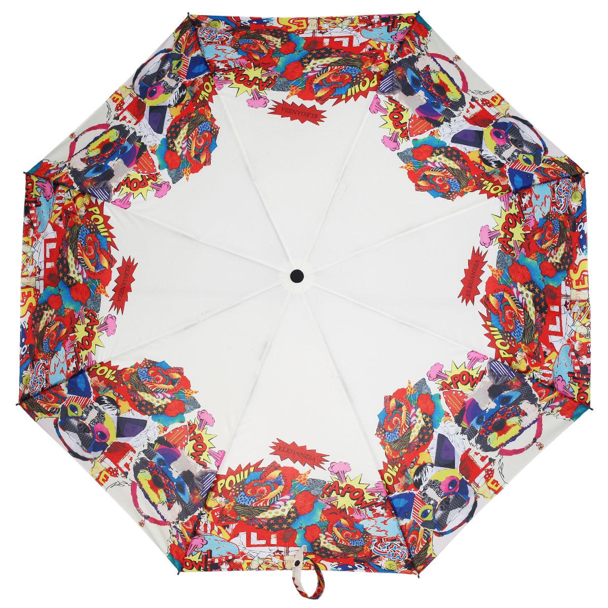 Зонт женский Eleganzza, автомат, 3 сложения, цвет: белый, красный. A3-05-0272A3-05-0272Стильный автоматический зонт Eleganzza в 3 сложения даже в ненастную погоду позволит вам оставаться элегантной. Каркас зонта выполнен из 8 спиц из фибергласса, стержень изготовлен из стали, удобная рукоятка - из пластика. Купол зонта выполнен из прочного полиэстера и эпонжа с водоотталкивающей пропиткой. В закрытом виде застегивается хлястиком на кнопке. Модный рисунок этого зонта понравится людям с чувством юмора. Веселая чехарда картинок в стиле поп-арт на белом фоне - беспроигрышный дизайнерский ход! Зонт имеет полный автоматический механизм сложения: купол открывается и закрывается нажатием кнопки на рукоятке, стержень складывается вручную до характерного щелчка, благодаря чему открыть и закрыть зонт можно одной рукой, что чрезвычайно удобно при входе в транспорт или помещение. На рукоятке для удобства есть небольшой шнурок, позволяющий надеть зонт на руку тогда, когда это будет необходимо. К зонту прилагается чехол.