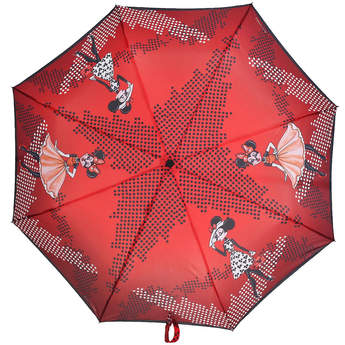 Зонт женский Eleganzza, автомат, 3 сложения, цвет: красный, белый. A3-05-0283SA3-05-0283SСтильный автоматический зонт Eleganzza в 3 сложения даже в ненастную погоду позволит вам оставаться элегантной. Каркас зонта выполнен из 8 спиц из фибергласса и алюминия, стержень изготовлен из стали, удобная рукоятка - из пластика. Купол зонта выполнен из прочного полиэстера и эпонжа с водоотталкивающей пропиткой. В закрытом виде застегивается хлястиком на кнопке. В этом сезоне актуальны ироничные принты. Эмоциональное, яркое и популярное направление поп-арт придаст вашему образу игривости. Обладая аксессуаром в таком стиле, Вы не останетесь не замеченной в городской толпе. Зонт имеет полный автоматический механизм сложения: купол открывается и закрывается нажатием кнопки на рукоятке, стержень складывается вручную до характерного щелчка, благодаря чему открыть и закрыть зонт можно одной рукой, что чрезвычайно удобно при входе в транспорт или помещение. Каркас зонта оснащен системой Smart, которая не позволяет стержню при сложении вылететь обратно. Это облегчает сложение...