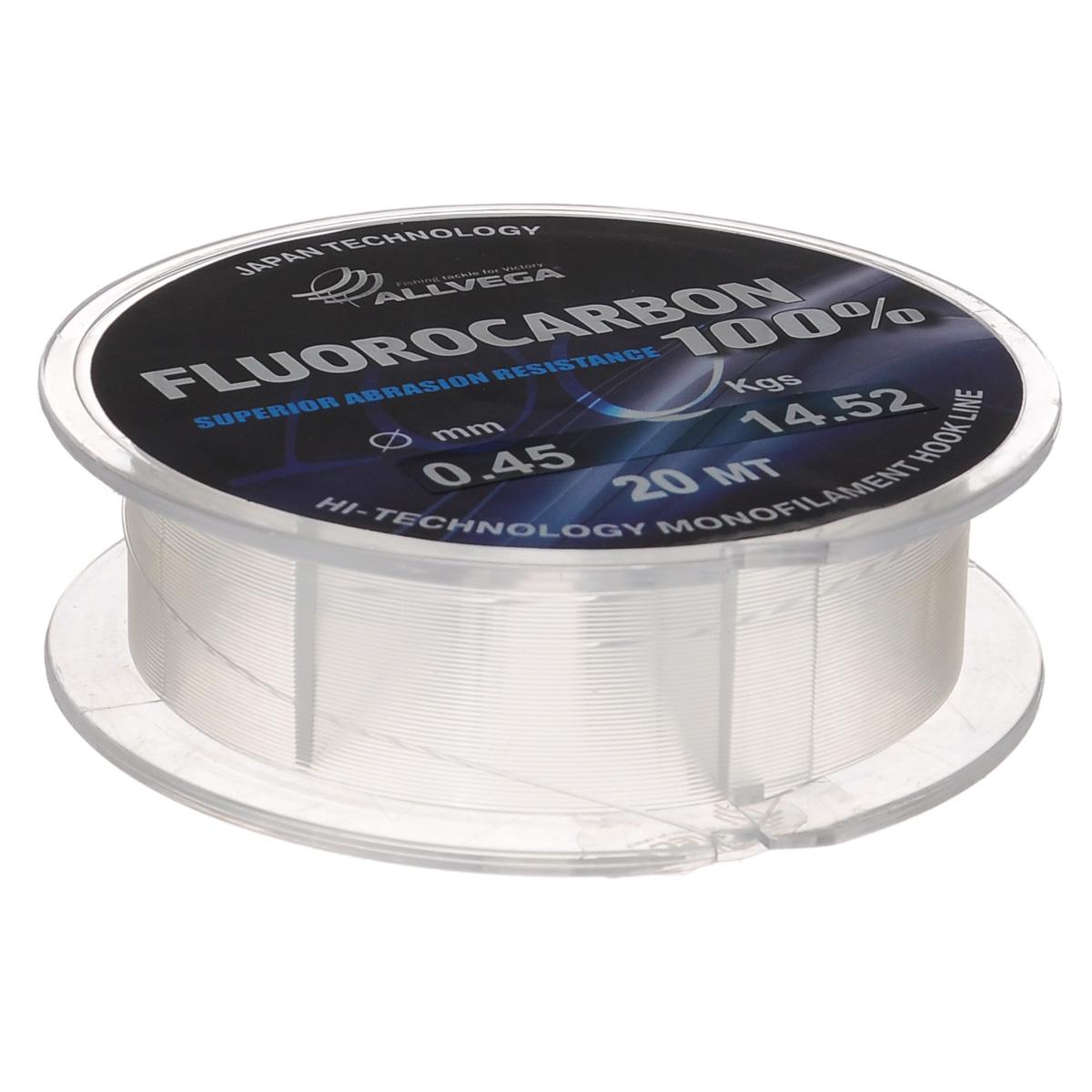 Леска Allvega FX Fluorocarbon 100%, цвет: прозрачный, 20 м, 0,45 мм, 14,52 кг36266Allvega FX Fluorocarbon 100% имеет коэффициент преломления света, близкий к коэффициенту преломления света воды, поэтому эта леска незаметна в воде и незаменима во многих случаях. Широко используется в качестве поводковой лески, как для мирных рыб, так и для хищников. Кроме прозрачности, так же обладает высокой устойчивостью к внешним механическим воздействиям, таким как камни, песок, ракушечник, зубы хищников. Обладает малой растяжимостью, что позволяет более четко определять поклевку и просекать рыбу.