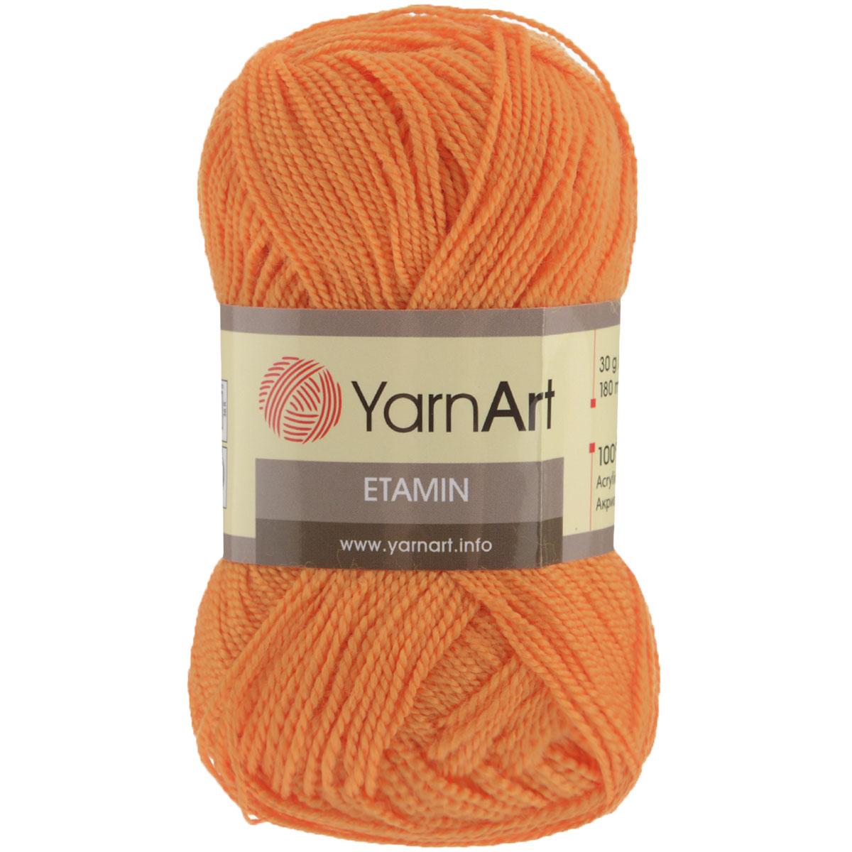 Пряжа для вязания YarnArt Etamin, цвет: оранжевый (446), 180 м, 30 г, 10 шт372099_446Пряжа Etamin YarnArt - это классическая пряжа из тонкого акрила для вязания изящных вещиц. Пряжа довольно прочная, не вытягивается, не скатывается, цветовая палитра представлена широчайшей радугой оттенков. Очень хорошо из Etamin YarnArt вязать декоративные элементы, цветы, игрушки, куколки и одежду для них, чехлы для мобильных телефонов и так далее. Вязать из этой ниточки очень легко: пряжа не скользит, не спутывается и не расслаивается. Рекомендованные спицы и крючок № 2,5. Состав: 100% акрил.