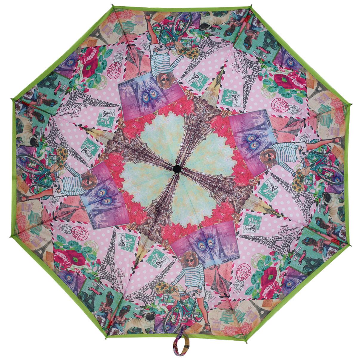 Зонт женский Eleganzza, автомат, 3 сложения, цвет: розовый, салатовый. A3-05-0296A3-05-0296Стильный автоматический зонт Eleganzza в 3 сложения даже в ненастную погоду позволит вам оставаться элегантной. Каркас зонта выполнен из 8 спиц из фибергласса и алюминия, стержень изготовлен из стали, удобная рукоятка - из пластика. Купол зонта выполнен из прочного полиэстера и эпонжа с водоотталкивающей пропиткой. В закрытом виде застегивается хлястиком на кнопке. Коллаж из романтичных сюжетов можно разглядывать снова и снова, каждый раз находя, что-то новое. Зонт имеет полный автоматический механизм сложения: купол открывается и закрывается нажатием кнопки на рукоятке, стержень складывается вручную до характерного щелчка, благодаря чему открыть и закрыть зонт можно одной рукой, что чрезвычайно удобно при входе в транспорт или помещение. На рукоятке для удобства есть небольшой шнурок, позволяющий надеть зонт на руку тогда, когда это будет необходимо. К зонту прилагается чехол.