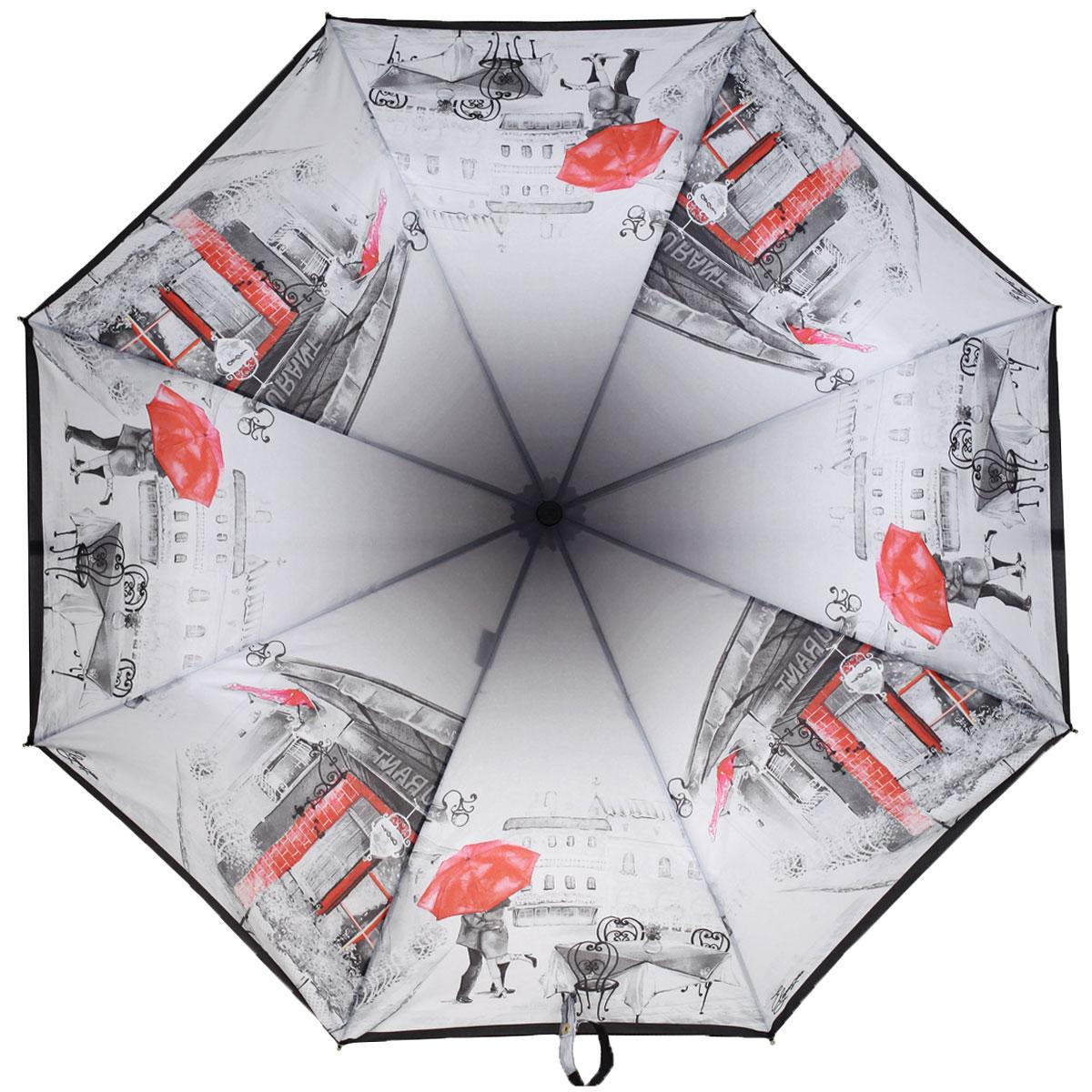 Зонт женский Eleganzza, автомат, 3 сложения, цвет: темно-серый, красный. A3-05-0295A3-05-0295Стильный автоматический зонт Eleganzza в 3 сложения даже в ненастную погоду позволит вам оставаться элегантной. Каркас зонта выполнен из 8 спиц из фибергласса и алюминия, стержень изготовлен из стали, удобная рукоятка - из пластика. Купол зонта выполнен из прочного полиэстера и эпонжа с водоотталкивающей пропиткой. В закрытом виде застегивается хлястиком на кнопке. Дизайн принта выполнен в стиле городской романтики с винтажным настроением. Черно-белое фото с яркими акцентами выглядит одновременно стильно и лаконично. Зонт имеет полный автоматический механизм сложения: купол открывается и закрывается нажатием кнопки на рукоятке, стержень складывается вручную до характерного щелчка, благодаря чему открыть и закрыть зонт можно одной рукой, что чрезвычайно удобно при входе в транспорт или помещение. На рукоятке для удобства есть небольшой шнурок, позволяющий надеть зонт на руку тогда, когда это будет необходимо. К зонту прилагается чехол.