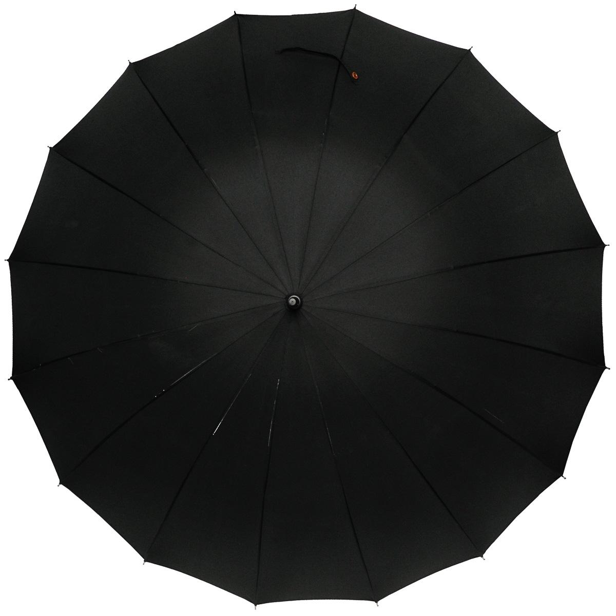 Зонт-трость мужской Zest, механический, цвет: черный. 4156041560Мужской механический зонт-трость Zest даже в ненастную погоду позволит вам оставаться стильным. Каркас зонта, выполненный их фибергласса, состоит из 16 спиц и прочного стержня. Специальная система Windproof защищает его от поломок во время сильных порывов ветра. Купол зонта черного цвета выполнен из прочного полиэстера с водоотталкивающей пропиткой. Используемые высококачественные красители, а также покрытие Teflon обеспечивают длительное сохранение свойств ткани купола. Рукоятка закругленной формы, разработанная с учетом требований эргономики, выполнена из дерева. Зонт имеет механический тип сложения: купол открывается и закрывается вручную до характерного щелчка. Такой зонт не только надежно защитит вас от дождя, но и станет стильным аксессуаром.
