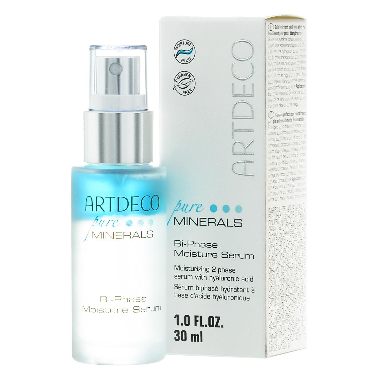 ARTDECO Двухфазная увлажняющая сыворотка для лица Pure Minerals Bi-Phase Moisture Serum, 30 мл67306Благодаря инновационной двухфазной системе эта легкая, быстро впитывающаяся сыворотка с тонким ароматом дарит коже стойкое и направленное увлажнение, питает кожу, поддерживая естественную целостность гидролипидной пленки. Поэтому фазы, взаимодействующие в сыворотке друг с другом, особенно хорошо увлажняют кожу, нуждающуюся в этом! Липидная фаза (25%) с питательным маслом семян папайи и витамином Е дарит коже больше свежести, бодрости и придает ей эластичность. Гидро-фаза (75%) насыщает кожу влагой, а входящие в ее состав гиалуроновая кислота, активные вещества из яблок, минеральный экстракт вулканических пород и биоферменты из зеленой водоросли хлорелла и из белого люпина повышают ее прочность. Переносимость кожей подтверждена дерматологическим контролем. Подходит для всех типов кожи, особенно для обезвоженной кожи. Перед употреблением хорошо взболтать.