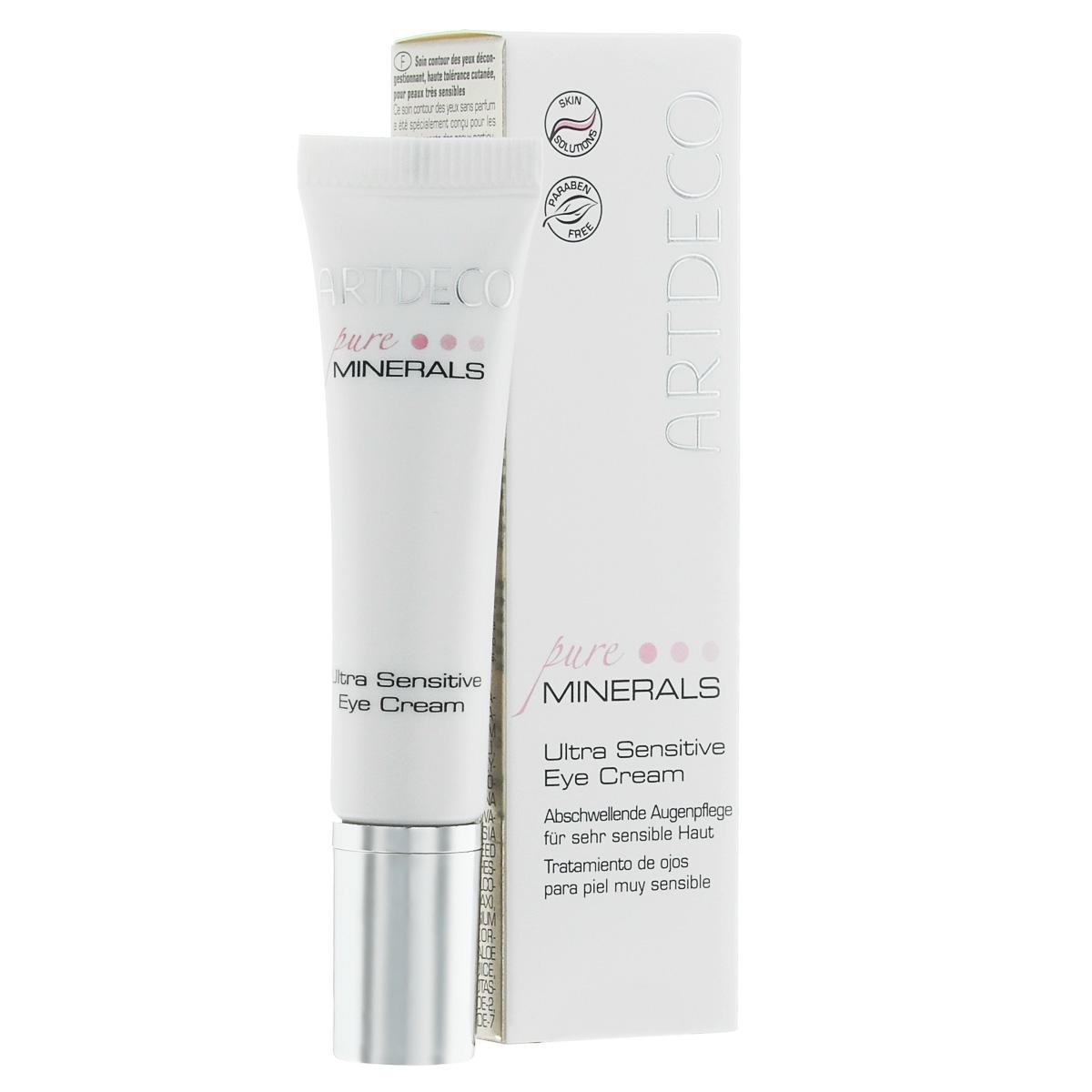 ARTDECO Крем вокруг глаз для очень чувствительной кожи Pure Minerals Ultra Sensitive Eye Cream, 15 мл67407Противоотечный крем для ухода за кожей вокруг глаз без парфюмированных отдушек специально разработан для удовлетворения потребностей взыскательной и очень чувствительной кожи. Поэтому этот крем абсолютно не раздражает кожу и оказывает успокаивающее действие, а активный ингредиент Eyeliss™ эффективно уменьшает отечность и темные круги вокруг глаз. Положительно влияя на упругость и эластичность кожи, крем сокращает морщины. Другие ингредиенты, такие как магний и гамамелис, оказывают успокаивающее воздействие, а Алоэ Вера дополнительно дарит коже ценное увлажнение. Масло жожоба придает коже мягкость и эластичность, а пчелиный воск обладает смягчающими свойствами и способен лучше удерживать влагу. Для идеально ухоженной, сияющей, прекрасной кожи. Не содержит парфюмированных отдушек. Переносимость кожей подтверждена дерматологическим контролем.