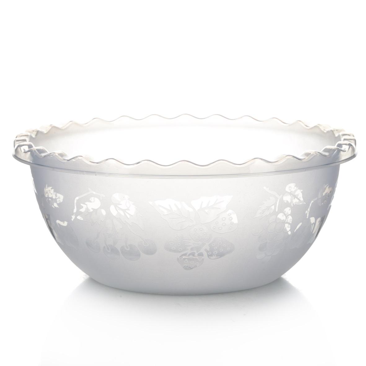 Миска Dunya Plastik Узорная, цвет: прозрачный, 6 л10502Миска Dunya Plastik Узорная изготовлена из пищевого пластика. Внешние стенки украшены изображением ягод и фруктов, кромка волнистая. Изделие очень функционально, оно пригодится на кухне для самых разнообразных нужд: в качестве салатника, миски, тарелки и т.д. Можно мыть в посудомоечной машине. Объем: 6 л. Диаметр: 28 см. Высота стенки: 12 см.
