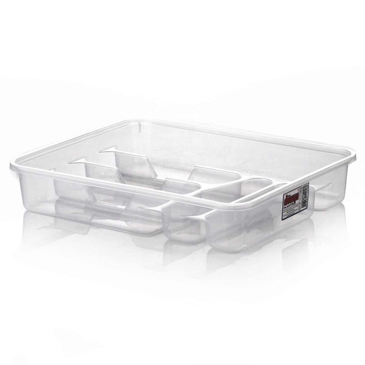 Лоток для столовых приборов Dunya Plastik, цвет: прозрачный, 39 х 30 х 7 см14006Лоток для столовых приборов Dunya Plastik изготовлен из прочного пластика. Изделие имеет 3 одинаковых секции для столовых ложек, вилок и ножей, секции для чайных ложек и длинную секцию для различных кухонных принадлежностей. Лоток помещается в любой кухонный ящик.