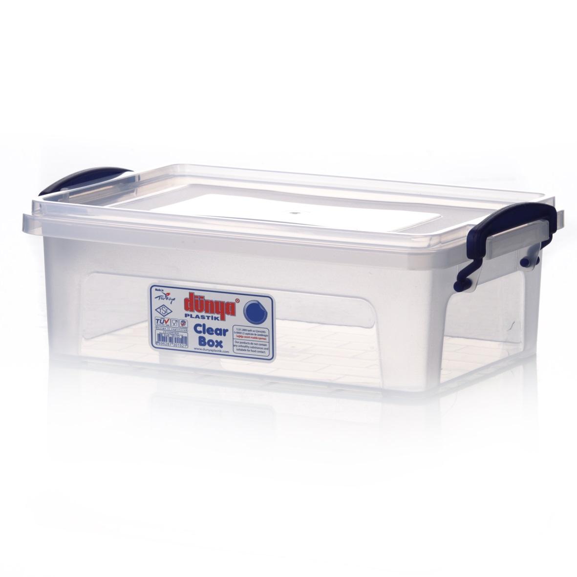 Контейнер Dunya Plastik Clear Box, цвет: прозрачный, 2 л30152Контейнер Dunya Plastik Clear Box выполнен из прочного пластика. Он предназначен для хранения различных мелких вещей. Крышка легко открывается и плотно закрывается. Прозрачные стенки позволяют видеть содержимое. По бокам предусмотрены две удобные ручки, с помощью которых контейнер закрывается. Контейнер поможет хранить все в одном месте, а также защитить вещи от пыли, грязи и влаги. Объем: 2 л. Размер контейнера (с учетом ручек и крышки): 25 см х 16,5 см х 8,5 см. Внутренний размер контейнера: 21,5 см х 14,5 см х 7 см.