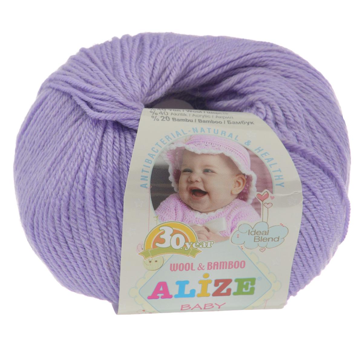 Пряжа для вязания Alize Baby Wool, цвет: светло-сиреневый (146), 175 м, 50 г, 10 шт686501_146Детская пряжа для вязания Alize Baby Wool изготовлена из очень мягкой и высококачественной натуральной шерсти и бамбука. Из пряжи Baby Wool получается тонкий, но очень теплый трикотаж для ребенка. Акрил в составе нитей допускает легкую машинную стирку вещей. Цветовая палитра включает в себя комбинации, которые подходят как для мальчиков, так и для девочек. Рекомендуемые для вязания спицы 2,5-4 мм и крючки 1-3 мм. Состав: 40% шерсть, 40% акрил, 20% бамбук.