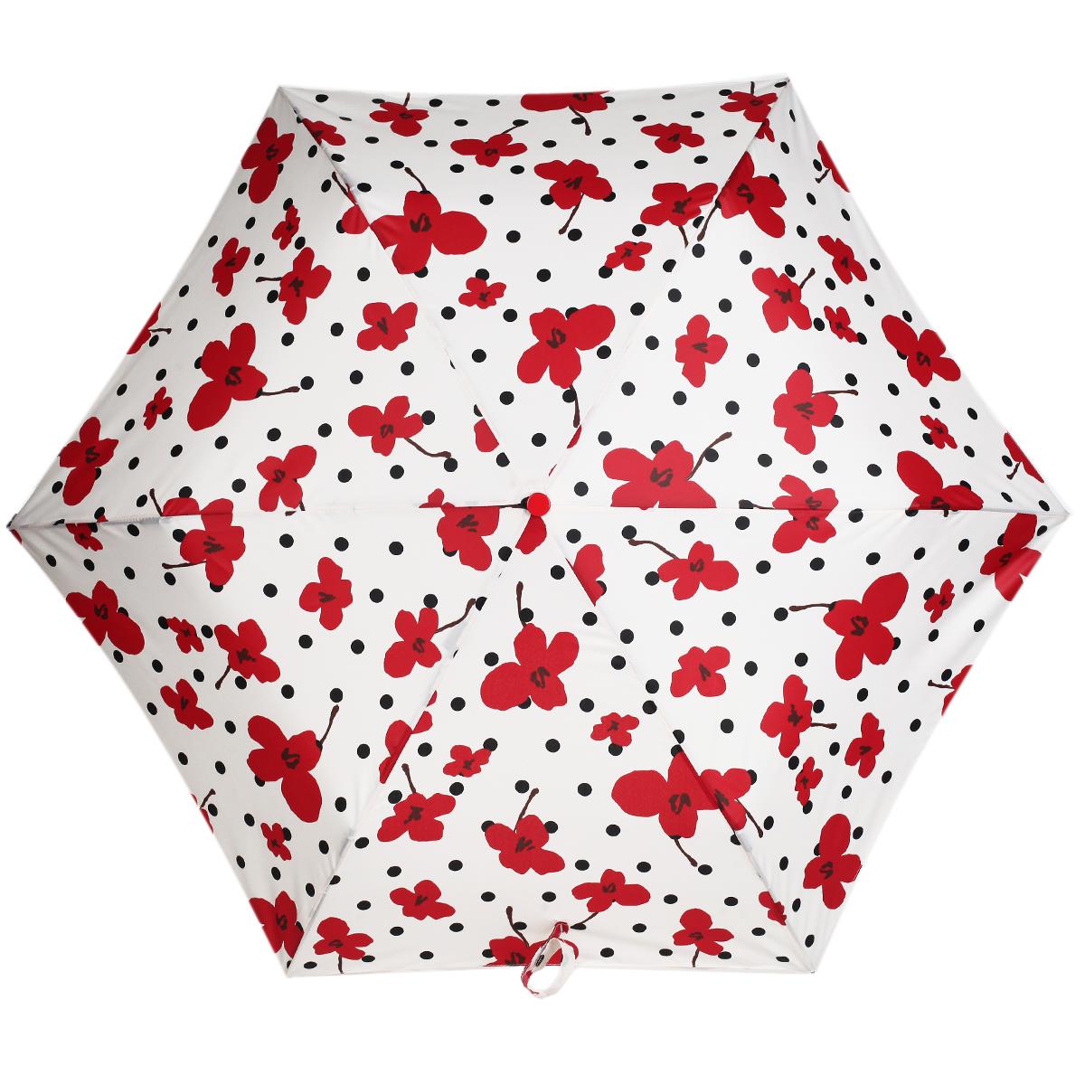 """Зонт женский """"Labbra"""", автомат, 3 сложения, цвет: красный, кремовый. A3-05-LR027"""