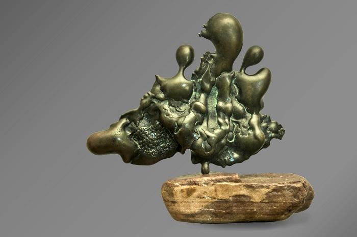 """Бронзовая скульптура """"Танго втроем"""". Коллекция """"Медяк"""". Авторская работа. Лимитированная серия. Бронза, тонировка, покрытие, камень"""