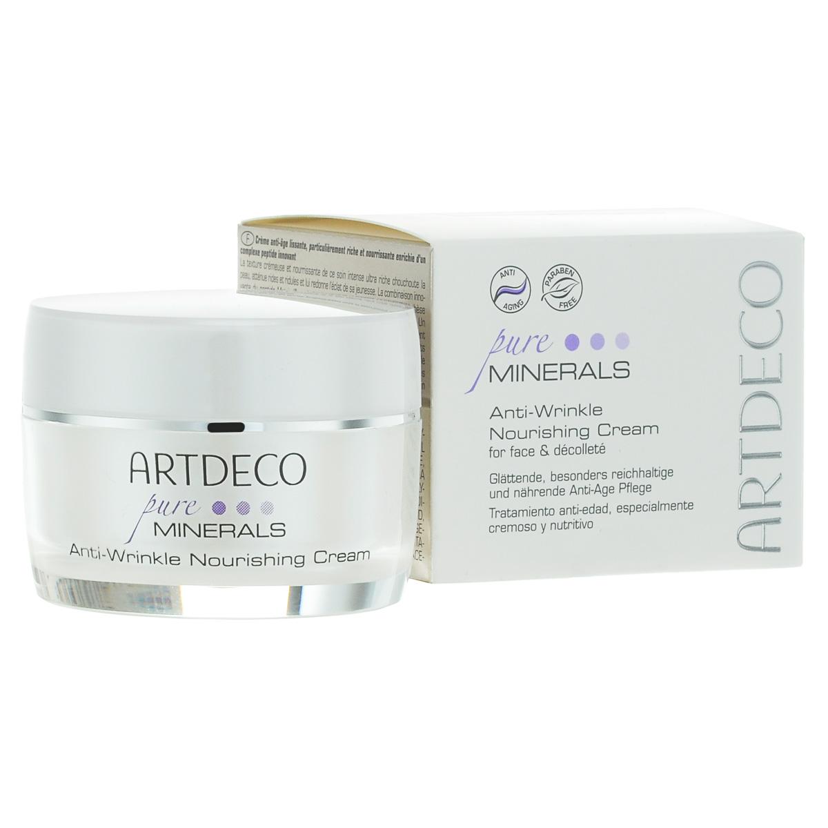 ARTDECO Питательный крем против морщин на лице Pure Minerals Anti-Wrincle Nourishing Cream, 50 мл67501Этот очень насыщенный крем для интенсивного ухода балует кожу своей питательной, кремовой текстурой, уменьшает морщины и придает коже сияние молодости. Инновационная комбинация пептидов Matrixyl® и драгоценного камня гематита активизирует естественный синтез коллагена и тем самым раскрывает секрет красоты, молодости и упругости кожи. Крем мгновенно придает коже гладкость и эластичность, создает уникальное ощущение нежности и молодости кожи. Инновационный пептидный комплекс Perfection Peptide P3, который содержит лецитин и глицерин, действует как пилинг и активизирует естественное обновление клеток и регенерацию кожи, уменьшает мелкие морщинки и нежелательную пигментацию. В результате кожа приобретает ухоженность, гладкость и сияние. Компонент Cupuacu отлично связывает воду и, следовательно, обладает сильным влагоудерживающим действием. Высококачественное масло ши прекрасно ухаживает за кожей, придавая ей мягкость, и защищает ее от высыхания. Сквален является естественным компонентом...