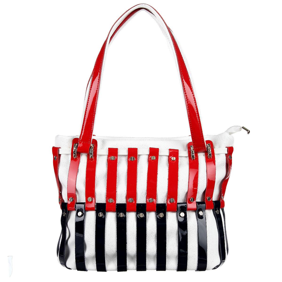 Сумка женская Vitacci, цвет: белый, красный, синий. VE0700VE0700Изысканная женская сумка Vitacci выполнена из высококачественной экокожи в сочетании с натуральной кожей. Сумка закрывается на пластиковую застежку-молнию. Внутри - большое отделение с двумя карманами на застежке-молнии и два накладных кармашка для телефона, мелочей. Роскошная сумка внесет элегантные нотки в ваш образ и подчеркнет ваше отменное чувство стиля.