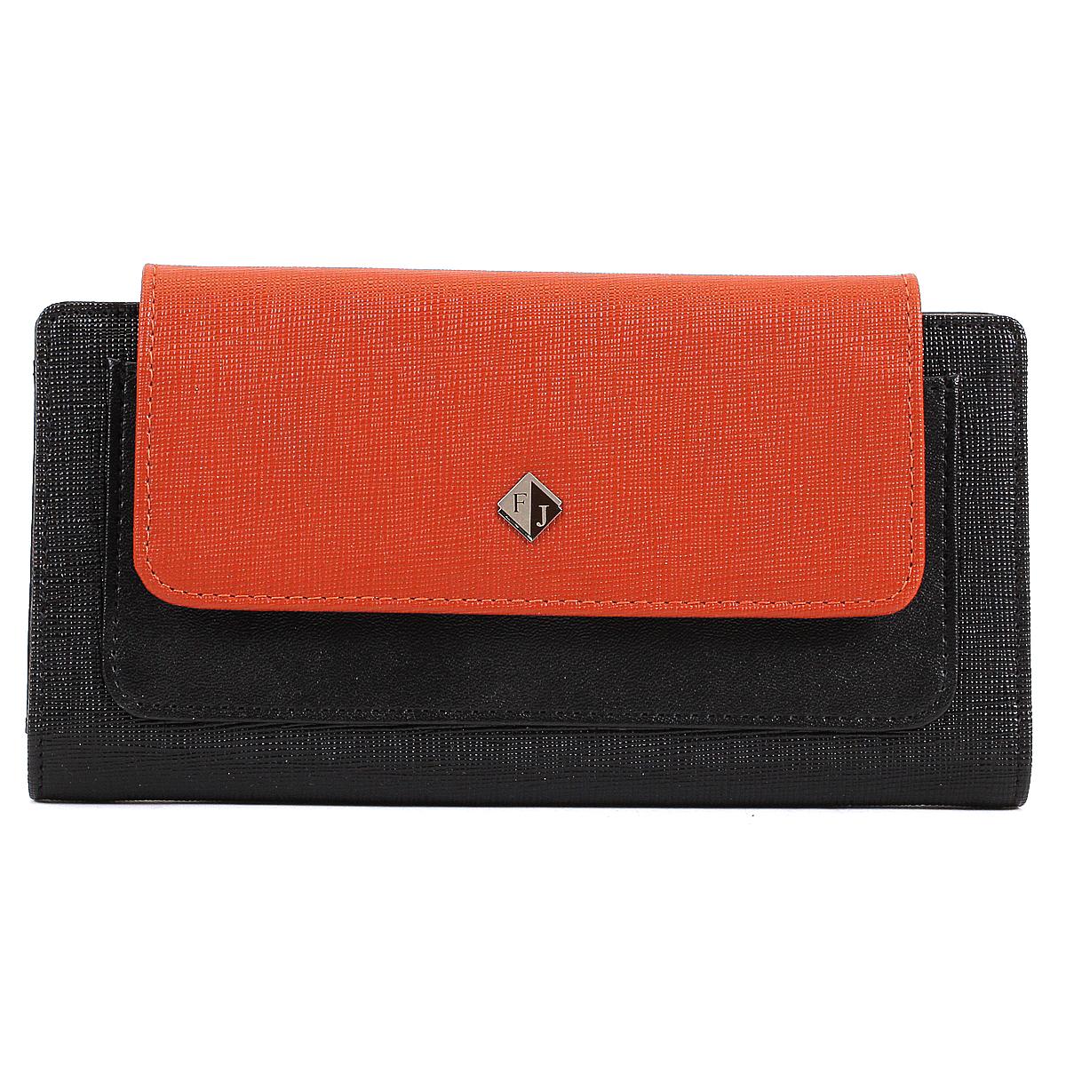 Кошелек женский Flioraj, цвет: черный, оранжевый. 1554-05/04/F1554-05/04/F черн-рыжСтильный женский кошелек Flioraj выполнен из натуральной кожи, оформлен не большой металлической пластинкой с логотипом бренда. Модель закрывается широким клапаном на кнопку. Внутри - четыре отделения для купюр, двенадцать наборных кармашков для кредиток и визитных карточек, карман с окошком из прозрачного пластика и два маленьких кармашка для sim-карт. На внешней стороне под клапаном расположен дополнительный накладной карман для бумаг и чеков.