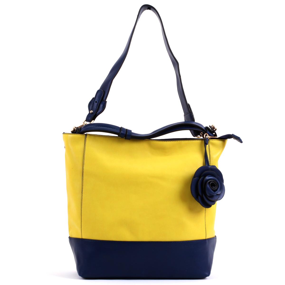 Сумка женская Leighton, цвет: желтый, синий. 76553-1092/809/1092/709 ж76553-1092/809/1092/709 жСтильная женская сумка Leighton выполнена из высококачественной искусственной кожи контрастных цветов. Сумка состоит из одного отделения и закрывается на молнию. Сумка разделена карманом-средником. Внутри отделения есть два накладных кармашка для мелочей и телефона и врезной карман на застежке-молнии. Задняя сторона дополнена плоским врезным карманом на застежке-молнии. Дно сумки защищено металлическими ножками, обеспечивающими дополнительную устойчивость. Сумка имеет съемный плечевой ремень. В комплекте чехол для хранения. Сумка - это стильный аксессуар, который подчеркнет вашу индивидуальность и сделает ваш образ завершенным. Классическое цветовое сочетание, стильный декор, модный дизайн - прекрасное дополнение к гардеробу модницы.