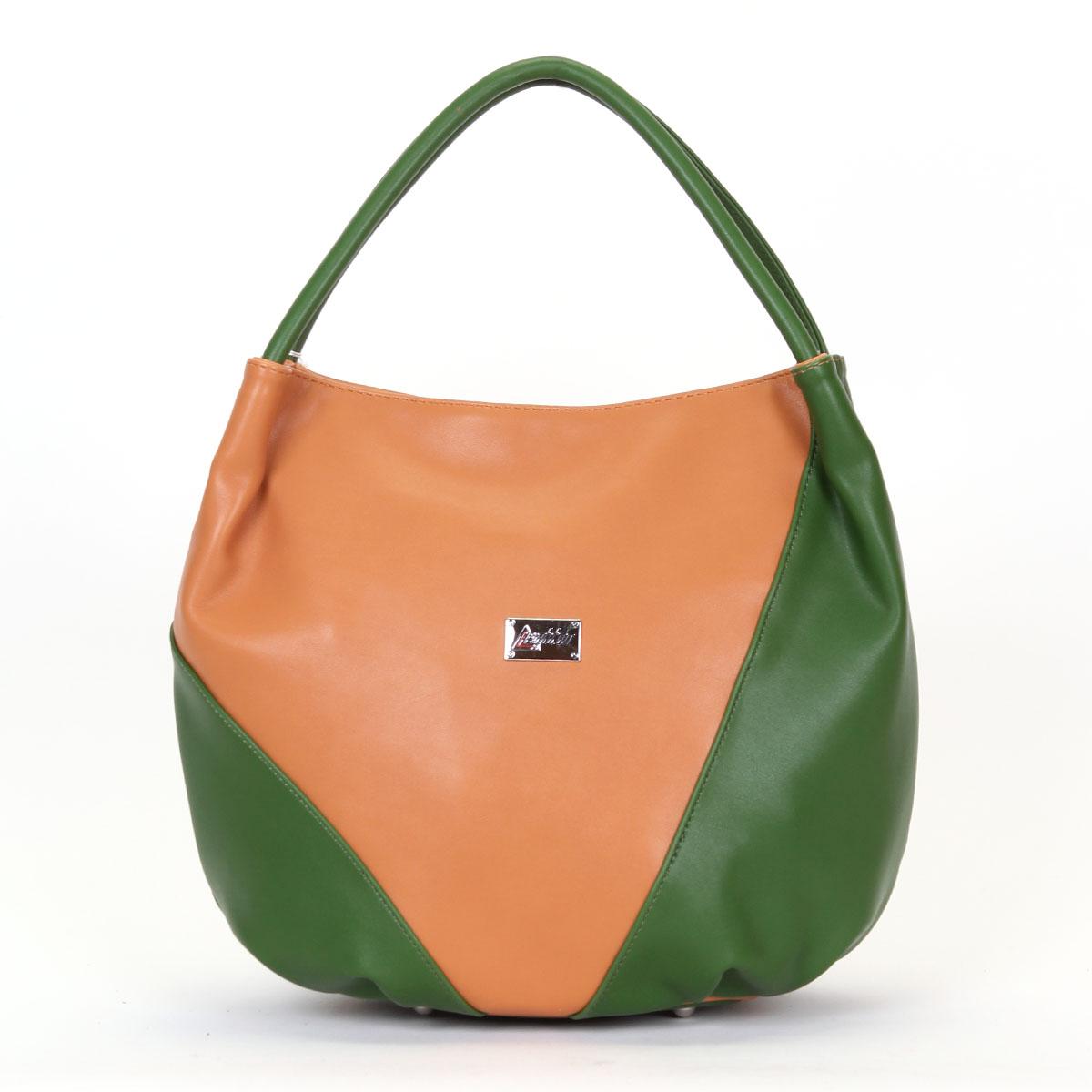 Сумка женская Leighton, цвет: темно-бежевый, зеленый. 350192-1092/805/1092/510350192-1092/805/1092/510Женская сумка Leighton выполнена из высококачественной искусственной кожи, украшена металлической пластиной с названием бренда. Сумка имеет одно отделение, закрывающееся на молнию. Внутреннее отделение содержит два накладных кармашка для мелочей и мобильного телефона, два врезных кармана на застежках-молниях и открытый отсек. На дне - четыре металлических ножки. Яркая цветовая гамма, стильный декор, модный дизайн - прекрасное дополнение к весеннему настроению.