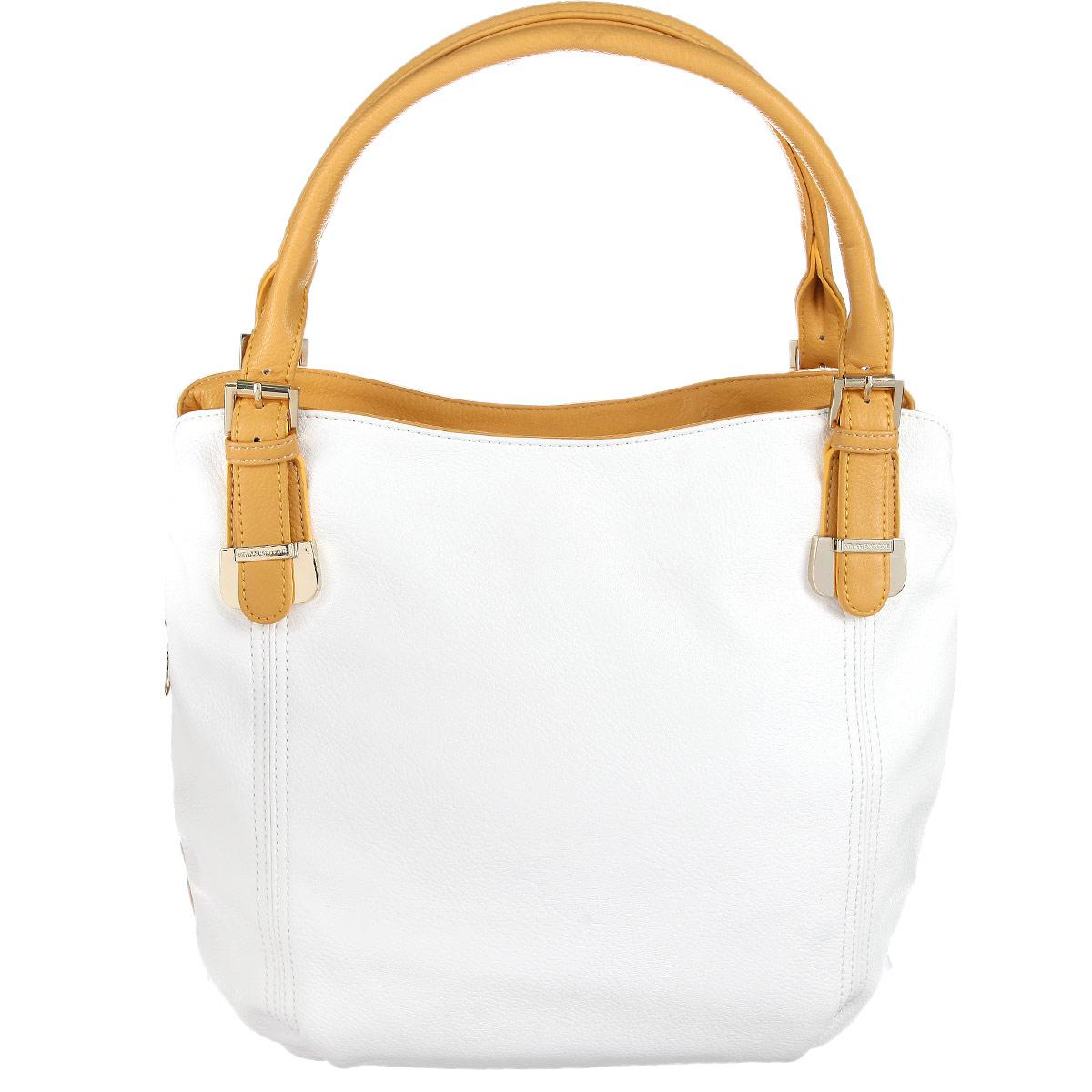 Сумка женская Vitacci, цвет: белый, желтый. VE0374VE0374Изысканная женская сумка Vitacci выполнена из высококачественной экокожи. Сумка закрывается на пластиковую застежку-молнию. Внутри - большое отделение с большим карманом на застежке-молнии, небольшой втачной кармашек на застежке-молнии и два накладных кармашка для телефона, мелочей. На задней стенке - втачной карман на застежке-молнии. Роскошная сумка внесет элегантные нотки в ваш образ и подчеркнет ваше отменное чувство стиля.