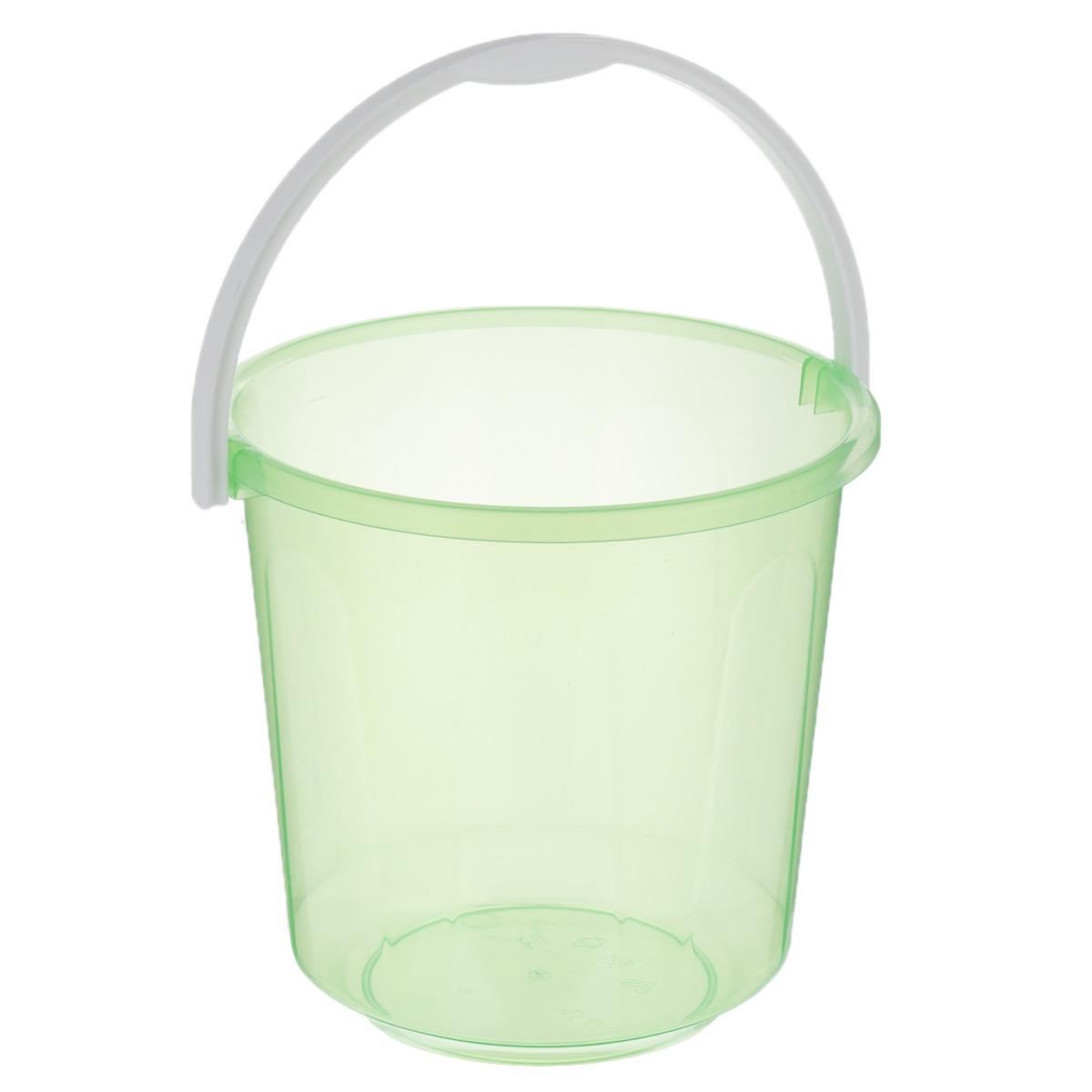 Ведро Хозяюшка, цвет: зеленый, 7 л. М1205М1205Маленькое ведро Хозяюшка изготовлено из пластмассы. Предназначено специально для начинающего садовода. В нем можно принести воды или использовать его для переноски земли. Диаметр ведра: 24 см. Высота ведра: 23 см.