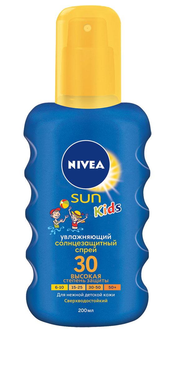 NIVEA Цветной Солнцезащитный спрей для детей СЗФ 30 200 мл10071620Солнцезащитный детский спрей Nivea Sun защищает от солнечных ожогов, благодаря эффективной системе UVA/UVB фильтров. Зеленый оттенок, исчезающий после нанесения, помогает равномерно нанести средство, не оставляя незащищенных участков. Характеристики: Объем: 200 мл. Производитель: Испания. Артикул: 85403. Товар сертифицирован.