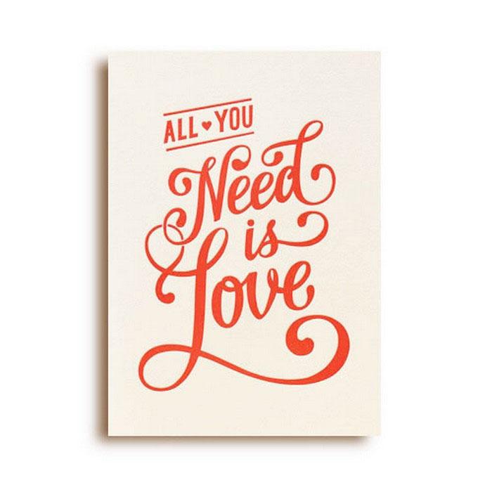 Открытка All You Need is Love. Автор Светлана ЛомакинаGC021.1Оригинальная открытка All you need is love напечатана вручную на старинном прессе способом высокой печати (letterpress), сделана из высококачественной бумаги из 100% хлопка молочно-кремового оттенка. Она поставляется в комплекте с конвертом из крафт-бумаги. Поздравительная открытка станет чудесным дополнением к подарку по любому поводу или милым сюрпризом и знаком внимания.