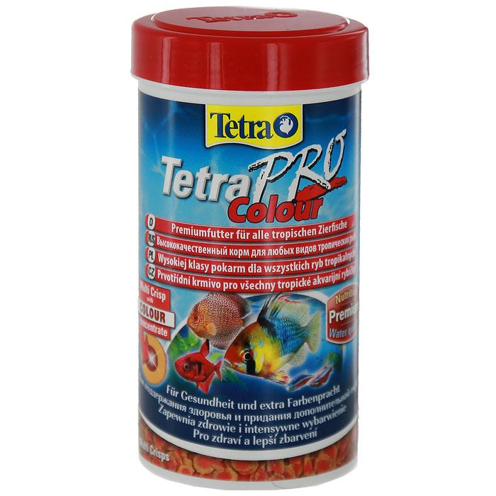 Корм сухой Tetra TetraPro. Colour для всех видов тропических рыб, чипсы, 100 мл (20 г)140646Полноценный высококачественный корм Tetra TetraPro. Colour для всех видов тропических рыб разработан для поддержания здоровья и придания дополнительной энергии. Особенности Tetra TetraPro. Colour: - щадящая низкотемпературная технология изготовления для высокой питательной ценности и стабильности витаминов; - цветовой концентрат для превосходной природной окраски; - инновационная форма чипсов для минимального загрязнения воды отходами; - идеально подходит для любых видов разноцветных рыб; - легкое кормление. Рекомендации по кормлению: кормить несколько раз в день маленькими порциями. Состав: рыба и побочные рыбные продукты, зерновые культуры, экстракты растительного белка, дрожжи, моллюски и раки, масла и жиры, водоросли. Аналитические компоненты: сырой белок - 46%, сырые масла и жиры - 12%, сырая клетчатка - 3%, влага - 9%. Добавки: витамины, провитамины и химические вещества с аналогичным воздействием, витамин А...