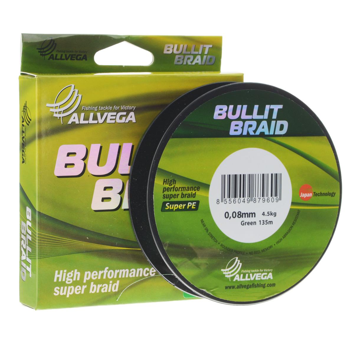 Леска плетеная Allvega Bullit Braid, цвет: темно-зеленый, 135 м, 0,08 мм, 4,5 кг31758Леска Allvega Bullit Braid с гладкой поверхностью и одинаковым сечением по всей длине обладает высокой износостойкостью. Благодаря микроволокнам полиэтилена (Super PE) леска имеет очень плотное плетение и не впитывает воду. Леску Allvega Bullit Braid можно применять в любых типах водоемов. Особенности: - повышенная износостойкость; - высокая чувствительность - коэффициент растяжения близок к нулю; - отсутствует память; - идеально гладкая поверхность позволяет увеличить дальность забросов; - высокая прочность шнура на узлах.