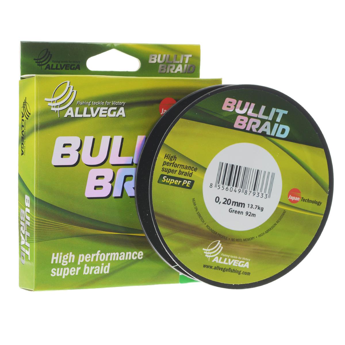 Леска плетеная Allvega Bullit Braid, цвет: темно-зеленая, 92 м, 0,20 мм, 13,7 кг21424Леска Allvega Bullit Braid с гладкой поверхностью и одинаковым сечением по всей длине обладает высокой износостойкостью. Благодаря микроволокнам полиэтилена (Super PE) леска имеет очень плотное плетение и не впитывает воду. Леску Allvega Bullit Braid можно применять в любых типах водоемов. Особенности: - повышенная износостойкость; - высокая чувствительность - коэффициент растяжения близок к нулю; - отсутствует память; - идеально гладкая поверхность позволяет увеличить дальность забросов; - высокая прочность шнура на узлах.