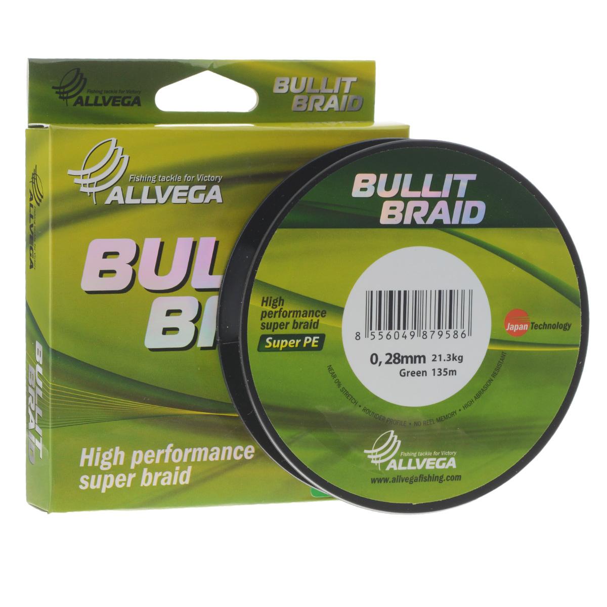 Леска плетеная Allvega Bullit Braid, цвет: темно-зеленый, 135 м, 0,28 мм, 21,3 кг21447Леска Allvega Bullit Braid с гладкой поверхностью и одинаковым сечением по всей длине обладает высокой износостойкостью. Благодаря микроволокнам полиэтилена (Super PE) леска имеет очень плотное плетение и не впитывает воду. Леску Allvega Bullit Braid можно применять в любых типах водоемов. Особенности: - повышенная износостойкость; - высокая чувствительность - коэффициент растяжения близок к нулю; - отсутствует память; - идеально гладкая поверхность позволяет увеличить дальность забросов; - высокая прочность шнура на узлах.