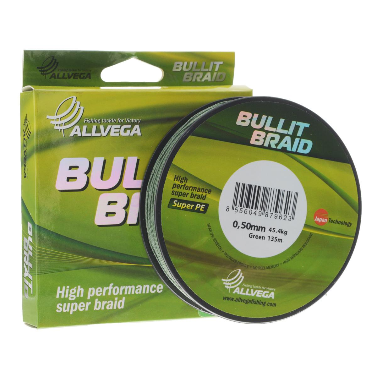Леска плетеная Allvega Bullit Braid, цвет: темно-зеленый, 135 м, 0,50 мм, 45,4 кг32047Леска Allvega Bullit Braid с гладкой поверхностью и одинаковым сечением по всей длине обладает высокой износостойкостью. Благодаря микроволокнам полиэтилена (Super PE) леска имеет очень плотное плетение и не впитывает воду. Леску Allvega Bullit Braid можно применять в любых типах водоемов. Особенности: - повышенная износостойкость; - высокая чувствительность - коэффициент растяжения близок к нулю; - отсутствует память; - идеально гладкая поверхность позволяет увеличить дальность забросов; - высокая прочность шнура на узлах.