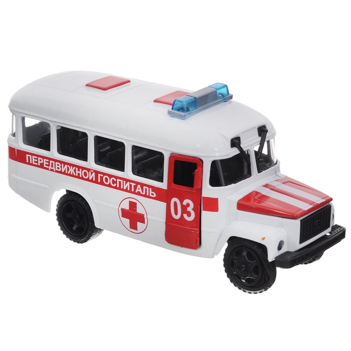 ТехноПарк Машинка инерционная КАвЗ 3976 Передвижной госпитальCT10-069-2Машинка инерционная ТехноПарк КАвЗ 3976: Передвижной госпиталь, выполненная из пластика и металла, станет любимой игрушкой вашего малыша. Игрушка представляет собой модель автобуса КАвЗ 3976 Передвижного госпиталя. Дверцы кабины водителя, кузова и капот открываются. При нажатии на капот машины, замигают проблесковые маячки на крыше и прозвучат команды диспетчера. Игрушка оснащена инерционным ходом. Машинку необходимо отвести назад, затем отпустить - и она быстро поедет вперед. Прорезиненные колеса обеспечивают надежное сцепление с любой поверхностью пола. Ваш ребенок будет часами играть с этой машинкой, придумывая различные истории. Порадуйте его таким замечательным подарком! Машинка работает от батареек (товар комплектуется демонстрационными).