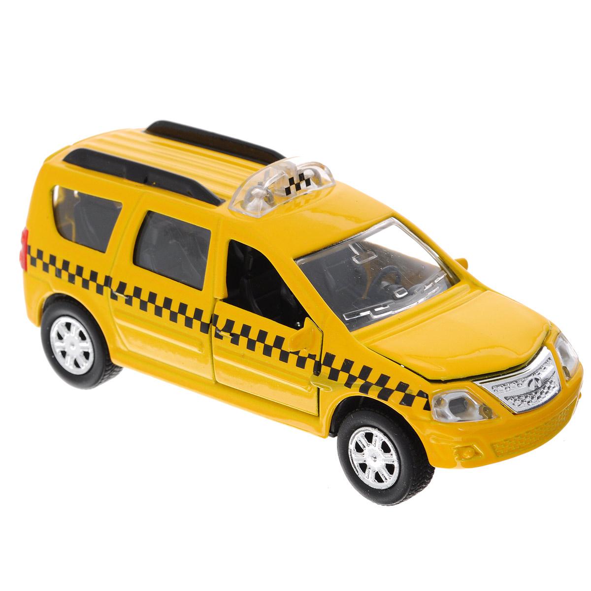 ТехноПарк Машинка инерционная Lada Largus ТаксиSB-13-13-3Машинка инерционная ТехноПарк Lada Largus: Такси выполненная из пластика и металла, станет любимой игрушкой вашего малыша. Игрушка представляет собой модель автомобиля такси Lada Largus. Дверцы салона, багажного отделения и капот открываются. При нажатии на капот модели, замигают проблесковые маячки и прозвучит звук работающего двигателя. Игрушка оснащена инерционным ходом. Машинку необходимо отвести назад, затем отпустить - и она быстро поедет вперед. Прорезиненные колеса обеспечивают надежное сцепление с любой поверхностью пола. Ваш ребенок будет часами играть с этой машинкой, придумывая различные истории. Порадуйте его таким замечательным подарком! Машинка работает от батареек (товар комплектуется демонстрационными).