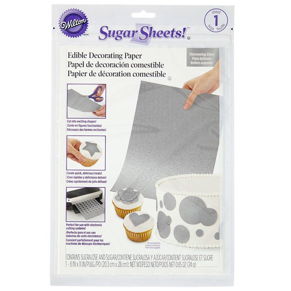 Сахарные листы мерцающие Серебро, 20,3 х 28 см