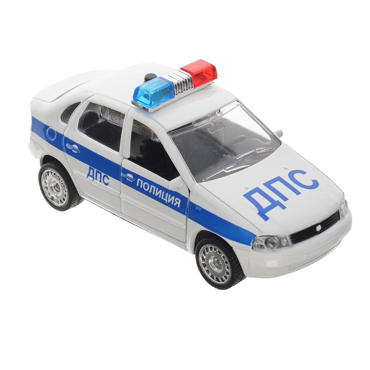 ТехноПарк Машинка инерционная Лада Калина ДПСCT-1049WB-10Инерционная машинка ТехноПарк Лада Калина: ДПС, выполненная из пластика и металла, станет любимой игрушкой вашего малыша. Игрушка представляет собой модель полицейского автомобиля марки Лада Калина. Дверцы кабины открываются. При нажатии на кнопку на крыше модели замигают проблесковые маячки и прозвучат звуки сирены и команды полицейского. Игрушка оснащена инерционным ходом. Машинку необходимо отвести назад, затем отпустить - и она быстро поедет вперед. Прорезиненные колеса обеспечивают надежное сцепление с любой гладкой поверхностью. Ваш ребенок будет часами играть с этой машинкой, придумывая различные истории. Порадуйте его таким замечательным подарком! Машинка работает от батареек (товар комплектуется демонстрационными).