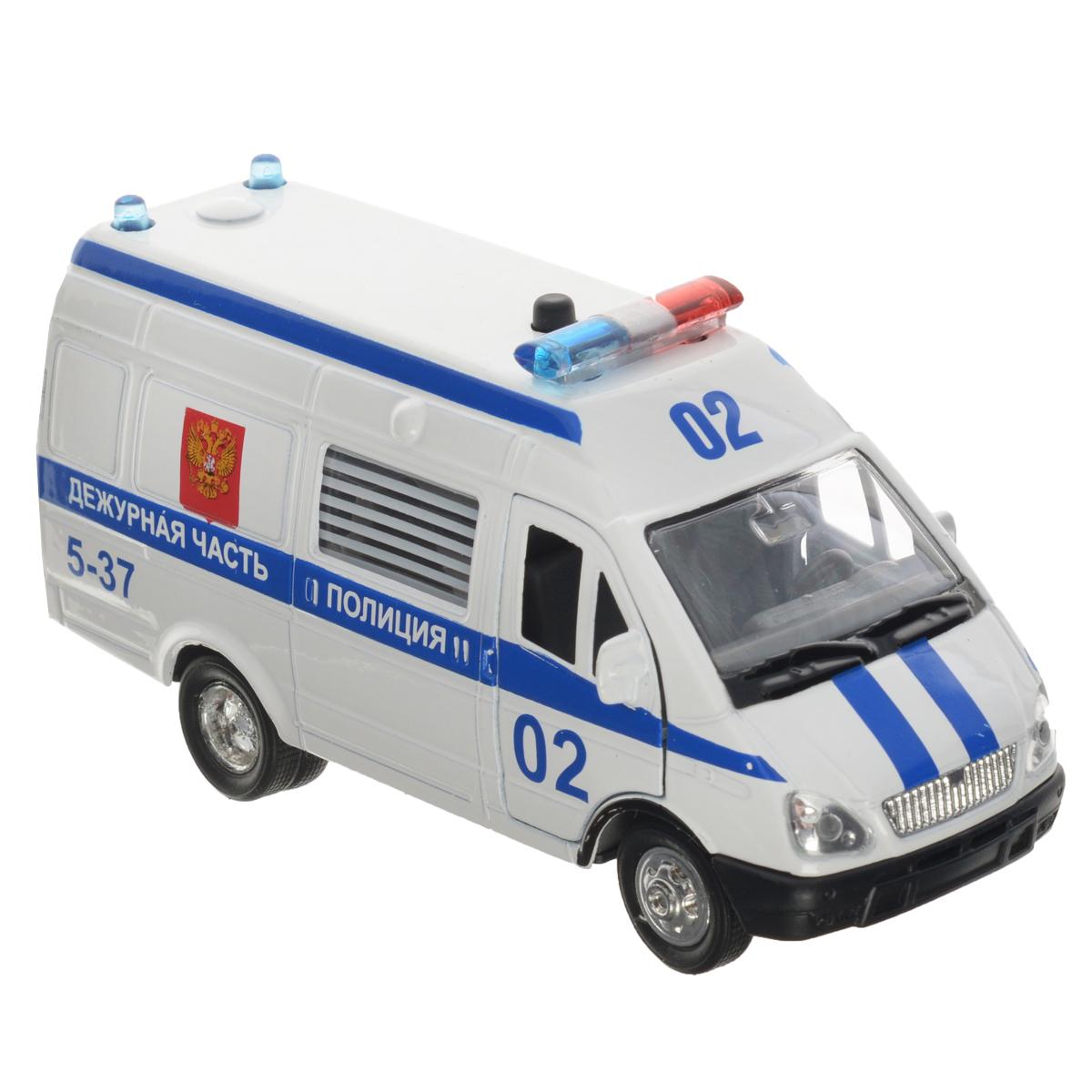 ТехноПарк Машинка инерционная Газель Полиция цвет белый синийCT-1276-16Инерционная машинка ТехноПарк Газель: Полиция, выполненная из пластика и металла, станет любимой игрушкой вашего малыша. Игрушка представляет собой модель полицейского автомобиля марки Газель. У машинки открываются передние дверцы и дверца багажного отделения. При нажатии на кнопку на крыше модели замигают проблесковые маячки и прозвучат звуки сирены и команды полицейского. Игрушка оснащена инерционным ходом. Машинку необходимо отвести назад, затем отпустить - и она быстро поедет вперед. Прорезиненные колеса обеспечивают надежное сцепление с любой гладкой поверхностью. Ваш ребенок будет часами играть с этой машинкой, придумывая различные истории. Порадуйте его таким замечательным подарком! Машинка работает от батареек (товар комплектуется демонстрационными).