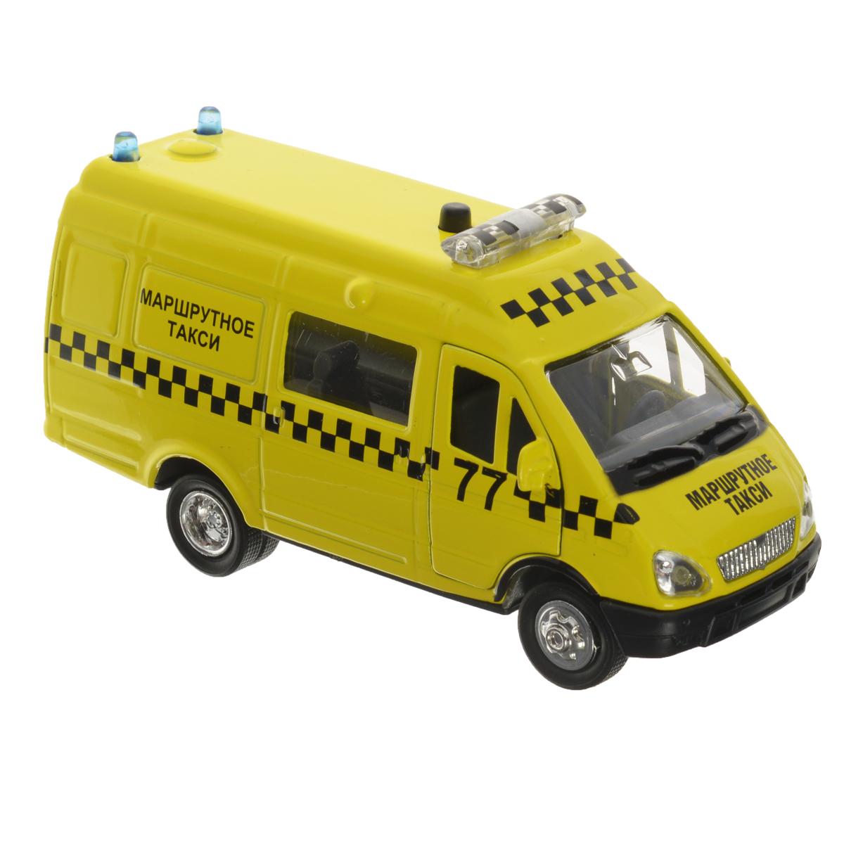 ТехноПарк Машинка инерционная Газель Маршрутное таксиCT-1276-22Инерционная машинка ТехноПарк Газель: Маршрутное такси, выполненная из пластика и металла, станет любимой игрушкой вашего малыша. Игрушка представляет собой модель автомобиля такси марки Газель. У машинки открываются передние, задние и боковая дверцы. При нажатии на кнопку на крыше модели замигают проблесковые маячки и раздастся голос водителя. Игрушка оснащена инерционным ходом. Машинку необходимо отвести назад, затем отпустить - и она быстро поедет вперед. Прорезиненные колеса обеспечивают надежное сцепление с любой гладкой поверхностью. Ваш ребенок будет часами играть с этой машинкой, придумывая различные истории. Порадуйте его таким замечательным подарком! Машинка работает от батареек (товар комплектуется демонстрационными).