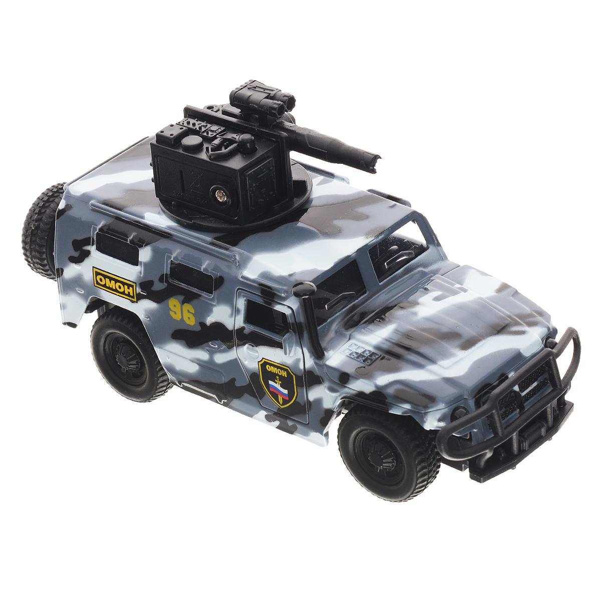 ТехноПарк Машинка инерционная ГАЗ Тигр цвет серый камуфляжCT12-357-G3Машинка ТехноПарк ГАЗ Тигр, выполненная из металла и пластика, станет любимой игрушкой вашего малыша. Игрушка представляет собой военный внедорожник ГАЗ Тигр, оснащенный открывающимися дверьми и капотом, а также вращающейся башней с пушкой. При нажатии кнопки на пушке кончик дула начинает светиться, при этом слышны звуки стрельбы и команды Огонь! В атаку!. Игрушка оснащена инерционным ходом. Внедорожник необходимо отвести назад, слегка надавив на крышу, затем отпустить - и машинка быстро поедет вперед. Прорезиненные колеса обеспечивают надежное сцепление с любой поверхностью пола. Ваш ребенок будет часами играть с этой машинкой, придумывая различные истории. Порадуйте его таким замечательным подарком! Машинка работает от батареек (товар комплектуется демонстрационными).