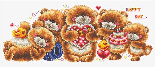 Набор для вышивания крестом Hobby & Pro Мишки в ряд, 54 х 21 см S-0657709584Набор для вышивания Hobby & Pro Мишки в ряд поможет вам создать свой личный шедевр - красивую картину, вышитую нитками мулине. Работа, выполненная своими руками, станет отличным подарком для друзей и близких! Набор содержит: - белая канва Aida 14 (5,5 клеток в см); - нитки мулине Bestex (26 цветов); - игла; - цветная схема.