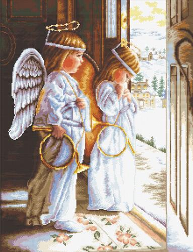Набор для вышивания крестом Hobby & Pro Ангелы, 34 x 53 см S-0747709593Набор для вышивания Hobby & Pro Ангелы поможет вам создать свой личный шедевр - красивую картину, вышитую нитками мулине в технике счетный крест. Работа, выполненная своими руками, станет отличным подарком для друзей и близких! Набор содержит: - белая канва Aida 14 (5,5 клеток в см); - нитки мулине Bestex (38 цветов); - игла; - цветная схема; - инструкция на русском языке.