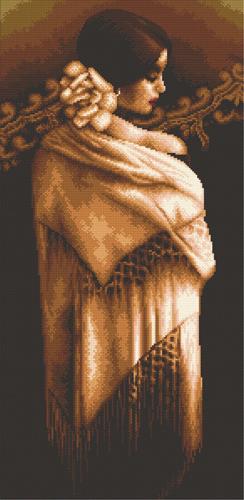 Набор для вышивания крестом Hobby & Pro Девушка с шалью, 27 x 53 см S-0767709595Набор для вышивания Hobby & Pro Девушка с шалью поможет вам создать свой личный шедевр - красивую картину, вышитую нитками мулине в технике счетный крест. Работа, выполненная своими руками, станет отличным подарком для друзей и близких! Набор содержит: - черная канва Aida 14 (5,5 клеток в см); - нитки мулине Bestex (15 цветов); - игла; - цветная схема; - инструкция на русском языке.