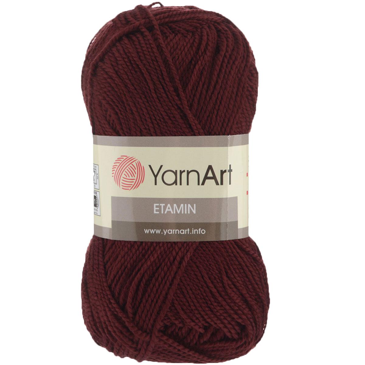 Пряжа для вязания YarnArt Etamin, цвет: бордовый (435), 180 м, 30 г, 10 шт372099_435Пряжа Etamin YarnArt - это классическая пряжа из тонкого акрила для вязания изящных вещиц. Пряжа довольно прочная, не вытягивается, не скатывается, цветовая палитра представлена широчайшей радугой оттенков. Очень хорошо из Etamin YarnArt вязать декоративные элементы, цветы, игрушки, куколки и одежду для них, чехлы для мобильных телефонов и так далее. Вязать из этой ниточки очень легко: пряжа не скользит, не спутывается и не расслаивается. Рекомендованные спицы и крючок № 2,5. Состав: 100% акрил.