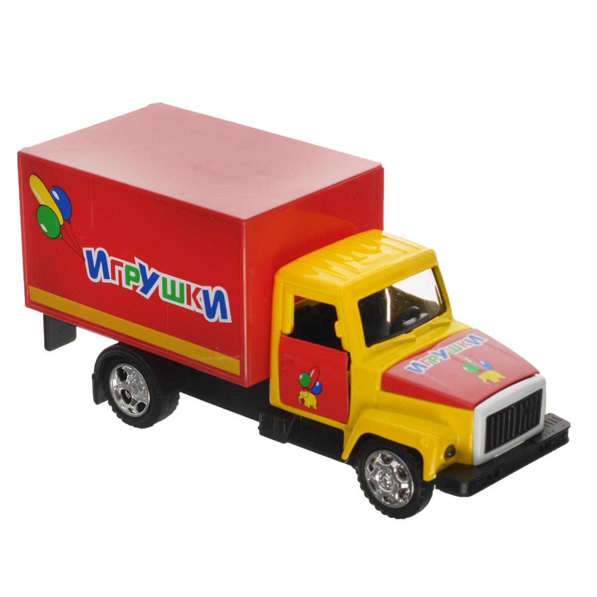 ТехноПарк Машинка инерционная ГАЗ 3307 ИгрушкиCT10-055-6Инерционная машинка ТехноПарк ГАЗ 3307: Игрушки, выполненная из пластика и металла, станет любимой забавой вашего малыша. Игрушка представляет собой модель грузового фургона марки ГАЗ 3307. У машинки открывается капот, дверцы кабины и кузова. При нажатии на капот замигают фары и раздастся звук работающего двигателя. Игрушка оснащена инерционным ходом. Машинку необходимо отвести назад, затем отпустить - и она быстро поедет вперед. Прорезиненные колеса обеспечивают надежное сцепление с любой гладкой поверхностью. Ваш ребенок будет часами играть с этой машинкой, придумывая различные истории. Порадуйте его таким замечательным подарком! Машинка работает от батареек (товар комплектуется демонстрационными).